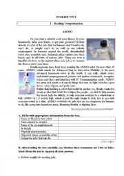 English Worksheet: Test on robots 1