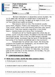 English Worksheet: placement test
