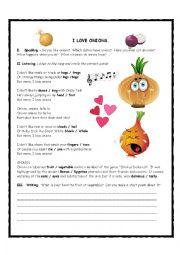 I Love Onions Song Activity
