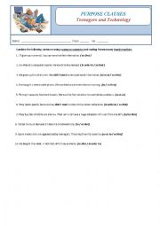 English Worksheet: Purpose Clauses - Teenagers and Technology