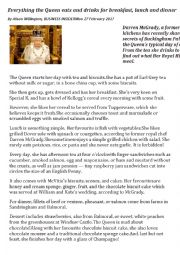 English Worksheet: What does the Queen eat