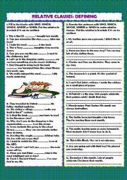 English Worksheet: Defining relative clauses + key