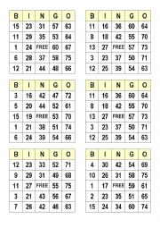 photo about Printable Bingo Numbers 1 75 titled Figures bingo playing cards - ESL worksheet by means of satodude