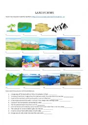 English Worksheet: LANDFORMS- Geographical Features