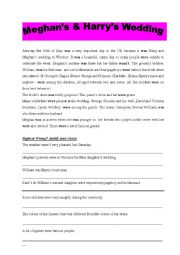 English Worksheet: Meghan�s & Harry�s wedding