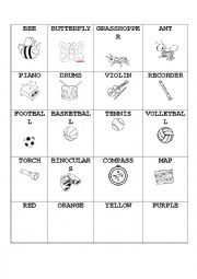 English Worksheet: Instruments, animals, sport, colors, family and actions