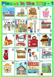 English Worksheet: Places in the city - 1 - Pictionary
