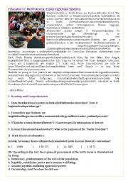 English Worksheet: Education in North Korea: Exploring School Systems Text