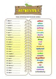 English Worksheet: ANTONYMS 1