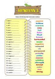 English Worksheet: ANTONYMS 3