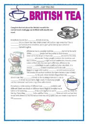 English Worksheet: GAP FILLING - TEATIME