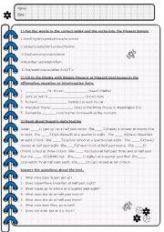 English Worksheet: My routine