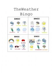 English Worksheet: Weather Bingo
