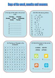 English Worksheet: Days of the week, months and seasons