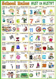 English Worksheet: School Rules POSTER - Must/Mustn´t