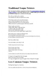 English Worksheet: traditional tongue twisters