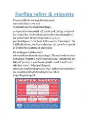 English Worksheet: Surfing Safety & Etiquette