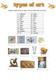 English Worksheet: Type of art