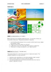 English Worksheet: Environment speaking test sample