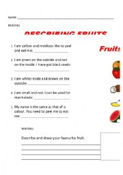 English Worksheet: DESCRIBING FRUITS