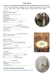 English Worksheet: King Arthur�s song