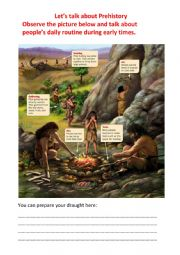 English Worksheet: Let�s talk about Prehistory