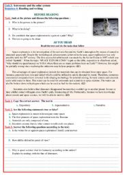 astronomy  reading and writing lesson plan