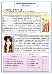 English Worksheet: mid term test 1 -7th basic