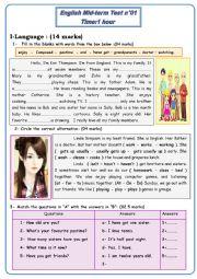 mid term test 1 -7th basic