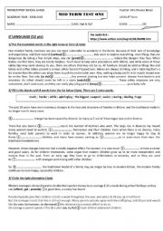 English Worksheet: MID TERM TEST 1 9TH PIONEER SCHOOL OF GABES