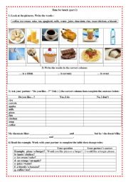 English Worksheet: Time for lunch (part 2)