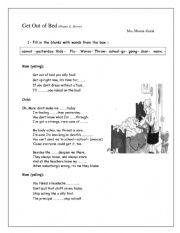 English Worksheet: get out of bed poem
