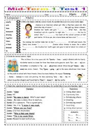 English Worksheet: Mid-Term 1 Test 1