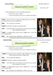 English Worksheet: Making a complaint and Responding to a complaint