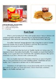 English Worksheet: fast food reading comprehension healthy food