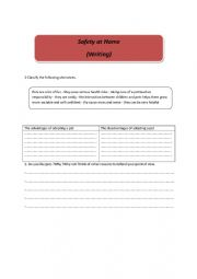 English Worksheet: writing about safety at home