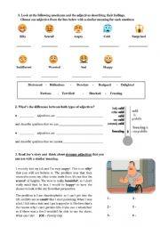 English Worksheet: Fears and phobias - base and strong adjectives