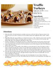 English Worksheet: Class Cooking - Microwave Only - No cooking required - Thanksgiving Truffle Turkeys