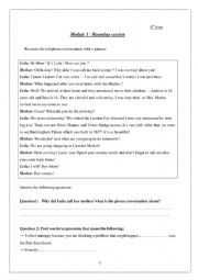 English Worksheet: Module 1 Roundup session for 8th form