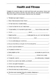 English Worksheet: Health and Fitness