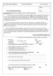 English Worksheet: blue whale article