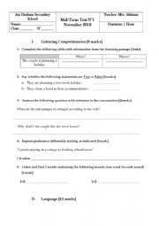 English Worksheet: Mid term test 1 Bac