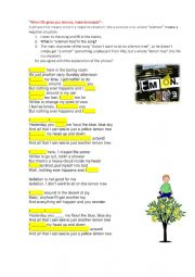 English Worksheet: Present Continuous song task