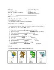 English Worksheet: animals and comparatives test
