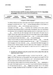 English Worksheet: Test 12th grade - Unit 1