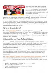 CYBERBULLYING (reading comprehension, gap fill)