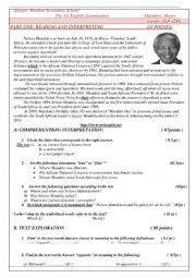 English Worksheet: biography of Nelson Mandela