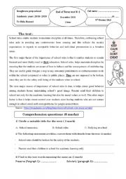English Worksheet: Full-Term-test N�1 9th forms