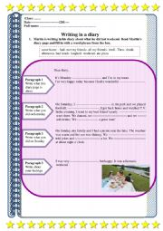 English Worksheet: Writing-A diary page