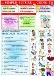 English Worksheet: The simple future simple with going to - basic rules + exercises + KEY